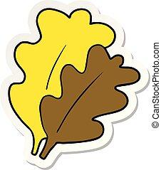 foglie, adesivo, cartone animato, cadere