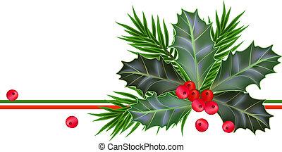 foglie, anno, nuovo, bacche holly, scheda natale