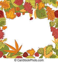foglie, autunnale, cornice