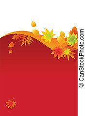foglie, autunnale, fondo, rosso