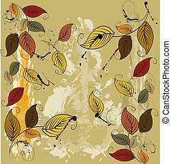 foglie, autunnale, fondo, seamless