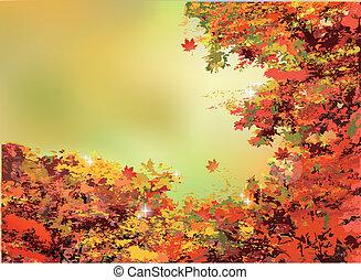 foglie, autunno, fondo, arancia