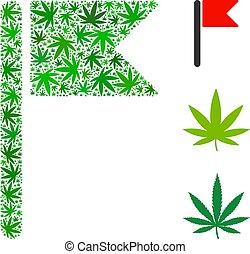 foglie, bandiera, canapa, mosaico