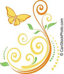 foglie, butterflie