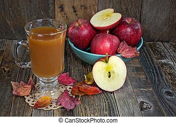 foglie, cadere, sidro, mela, caldo