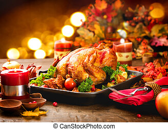foglie, cena, ringraziamento, autunno, luminoso, tacchino, ...