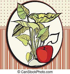 foglie, cornice, mele