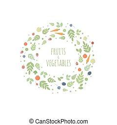 foglie, cornice, vettore, frutte