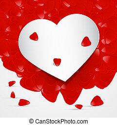 foglie, cuore, vettore, rosso