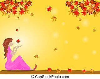 foglie, donna, mano, lei, sotto, colorito, giallo, fondo., seduta, caduto, teso, là, albero, leaf., ricevere