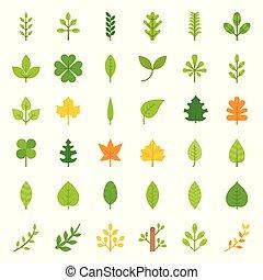 foglie, e, ramo, icona, set, appartamento, disegno