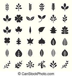 foglie, e, ramo, icona, set, glyph, disegno