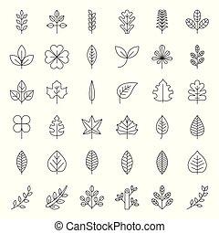 foglie, e, ramo, icona, set, linea sottile, disegno
