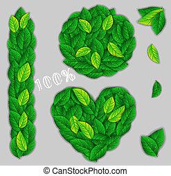 foglie, elementi, verde