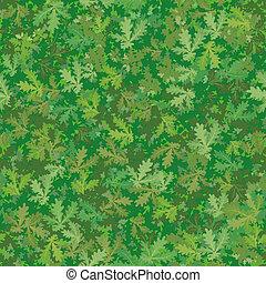 foglie, fondo, quercia, seamless