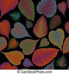 foglie, fondo, seamless, colorito