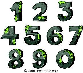 foglie, font, disegno, numeri, roccia