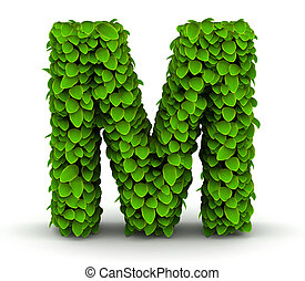 foglie, font, m, lettera