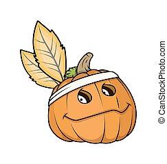 foglie, halloween zucca, faccia