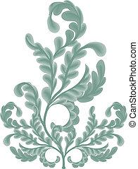 foglie, illustrazione, quercia