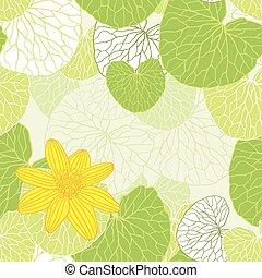 foglie, -, illustrazione, vettore, sfondo verde, fresco