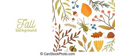 foglie, insects., decorativo, foresta, fondo, botanico, disegno, autunno, concept., natura, albero, vettore, bandiera, fauna, cadere, themed, illustration., typography., stagionale, flora, appartamento, rami