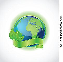 foglie, isolato, verde, involvere, terra, nastro