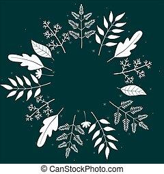 foglie, mano, invito, vettore, disegnato, augurio, festivo, scuro, bianco, illustration., bordo, fiori, matrimonio, manifesto, text., testo, floreale, scheda, template., cornice, fondo.