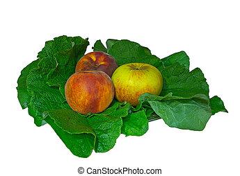 foglie, mela verde, pesca