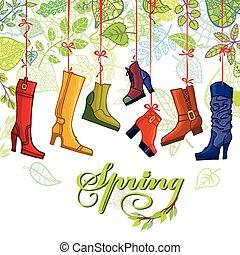 foglie, moda, stivali, colorato, donne