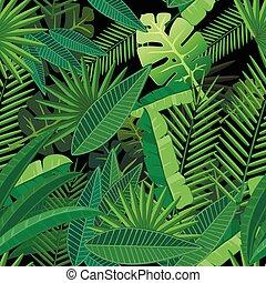 foglie, modello, fondo, albero., scuro, tropicale, palma, seamless