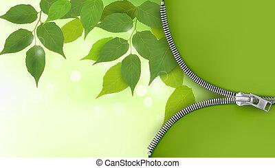 foglie, natura, vettore, fondo, fresco, verde, chiusura lampo, illustrazione