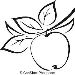 foglie, nero, mela, pictogram