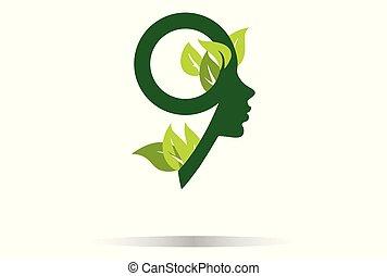 foglie, nove, numero, donne
