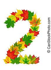 foglie, numero, autunno, forma, 2, acero