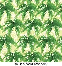 foglie, palma, seamless, modello