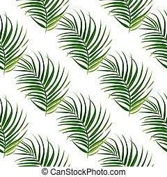 foglie, pattern., seamless, tropicale, fondo., vettore, palma