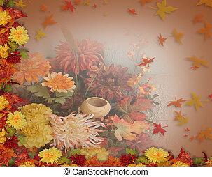 foglie, ringraziamento, cadere