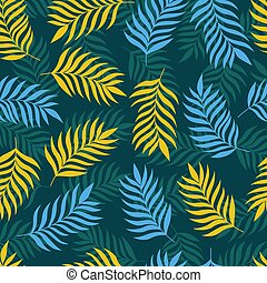 foglie, seamless, modelli, palma, fondo, nero