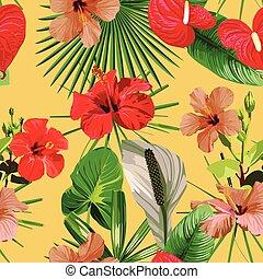 foglie, seamless, sfondo giallo, fiori, rosso