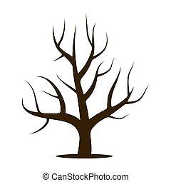foglie, senza, albero