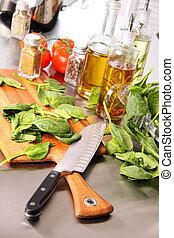 foglie, spinacio, asse, preparare