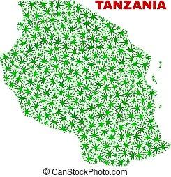 foglie, tanzania, canapa, mosaico, mappa