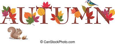foglie, testo, uccello blu, decorato, scoiattolo, autunno