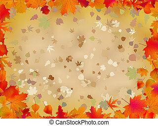 foglie, text., eps, autunno, 8, bordo, tuo