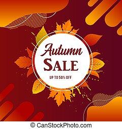 foglie, vendita, autunno, vettore, cadere, bandiera
