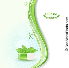 foglie, verde, pillola