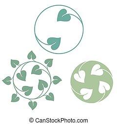 foglie, verde, simbolo, icona