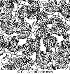foglie, vettore, artistico, nero, mano, luppolo, birra, disegnato, bianco, pattern., seamless, ramo, fondo.