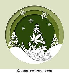 foglie, vettore, canapa, fondo, ritagliare, albero natale